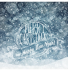 merry christmas card with snow texture vector image