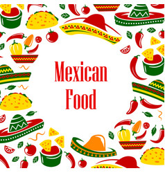 Mexico symbols frame mexican food and sombrero vector