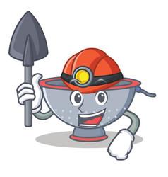 Miner colander utensil character cartoon vector