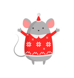 nice kind mouse symbol of the new year mouse in a vector image