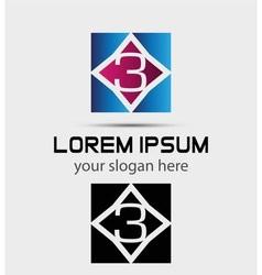 Number 3 logo logotype design vector image