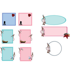 Office stationery labels animals and figures vector
