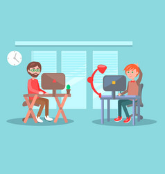 office workers or freelancers at work vector image