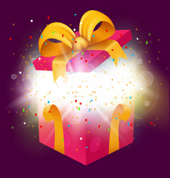 opened surprise gift box with confetti explosion vector image