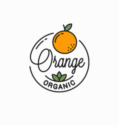 orange fruit logo round linear logo vector image