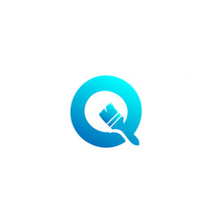 Paint brush letter o colorful logo template icon vector