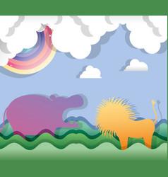 paper art animals vector image