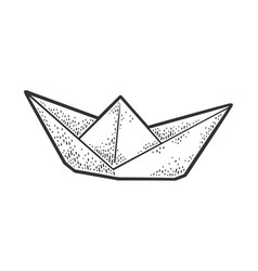 paper boat line art sketch vector image