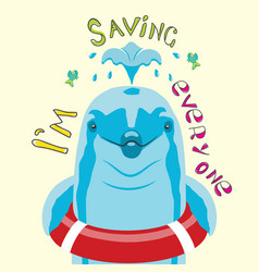 Postcard dolphin with a lifebuoy for children vector