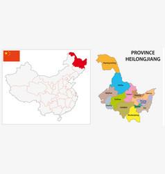 Province heilongjiang administrative map vector