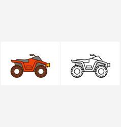 Quad bike coloring page for kids atv bike vector