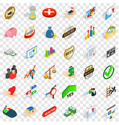 Quality icons set isometric style vector