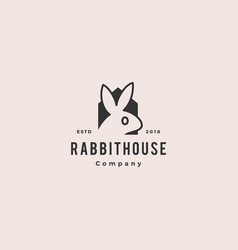 rabbit house home logo vintage retro hipster icon vector image