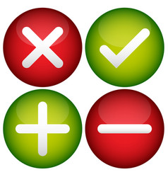 Red cross check mark plus and minus signs icons vector