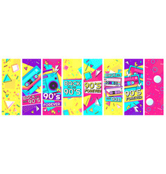 retro 90s banner nineties forever back to the vector image
