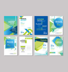 Set blue cover brochure flyer annual report vector