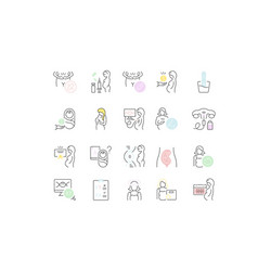 set line icons pregnancy vector image