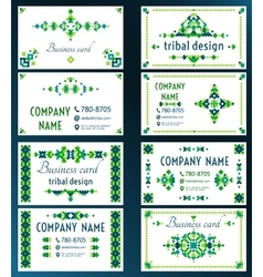 Set of cards with bright tribal geometric ornament vector image