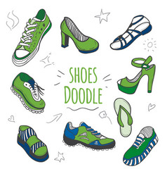 set of doodle shoes with sneakers vector image