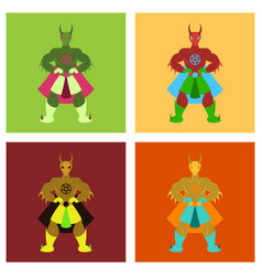 Set of man superhero superhero standing icon vector