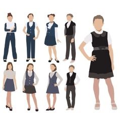Set of pupils silhouette in school uniform vector