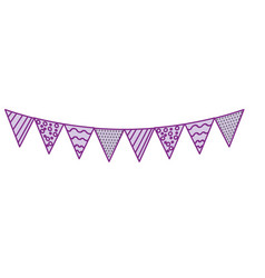 Silhouette party flags to decoration happy vector