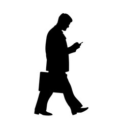 silhouette walking businessman vector image