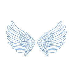 Simple hand drawn feather open wings vector