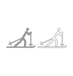skier icon grey set vector image