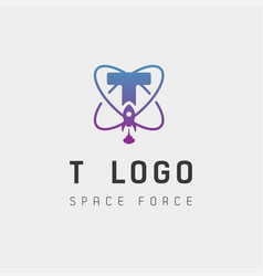 Space force logo design t initial galaxy rocket vector