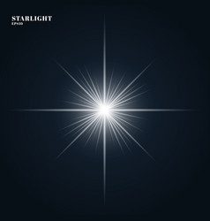 starlight shining flare with rays isolated on vector image