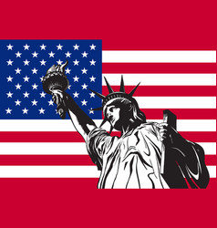 statue of liberty on the background vector image
