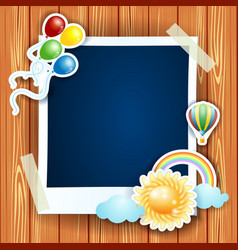 Summer background with photo frame vector