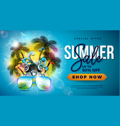 summer sale design with palm trees and sunglasses vector image