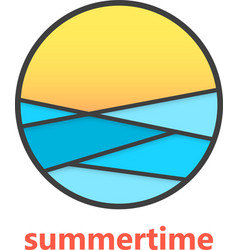 Summertime sign with waves and sunset vector