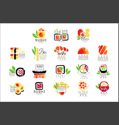 sushi bar logo design set of colorful watercolor vector image