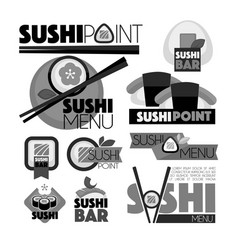 Sushi point bar menu monochrome set of emblems vector