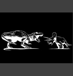t rex versus triceratops with a vector image