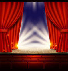 theater opera cinema scene with red curtains vector image