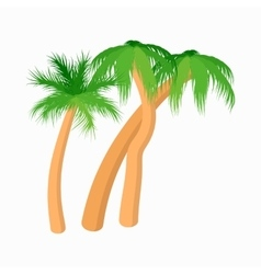 Three palm tropical trees icon cartoon style vector