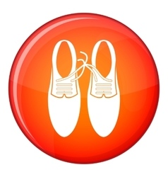 Tied laces on shoes joke icon flat style vector