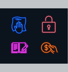 Washing cloth lock and feedback icons payment vector