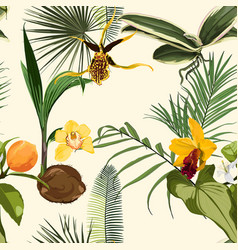 watercolor style exotic flowers end palm leaves vector image