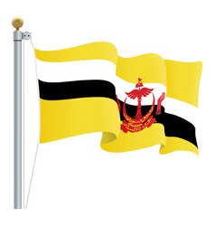 waving brunei flag isolated on a white background vector image