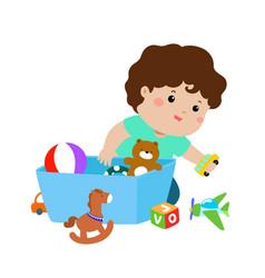 Xa of kid boy storing toys vector