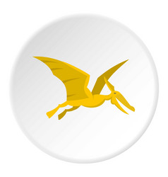 Yellow pterosaurs dinosaur icon circle vector