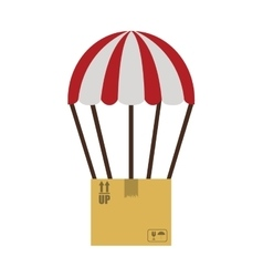 Colorful parachute with cardboard box vector