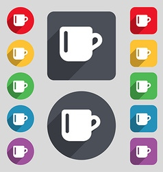 cup coffee or tea icon sign A set of 12 colored vector image