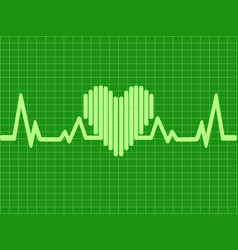 green heartbeat background vector image