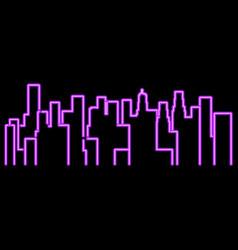 neon city outline landscape megapolis vector image